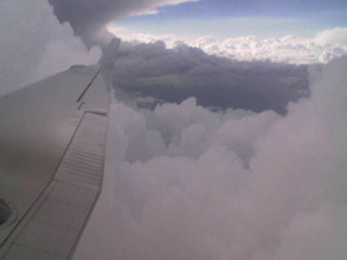 Clouds over the wing
