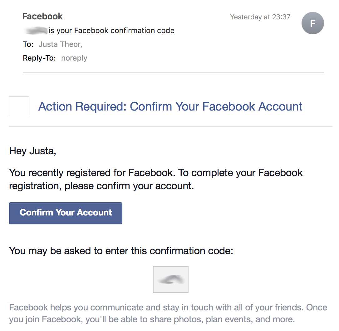 Action Required: Confirm Your Facebook Account